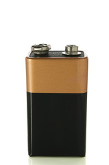 9v battery on white with clipping path