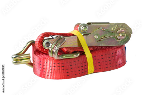 New rathet strop for fastening a cargo. Isolated on white.