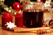 hot wine punch, star anise and candles  - xmas