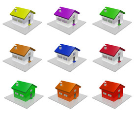 3D house colorful energy consumption level