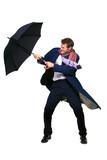 Businessman struggling with umbrella poster