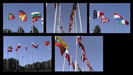 Montage flags of various countries