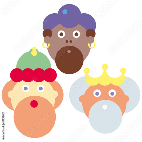 Stylized vector illustration of the three wise men