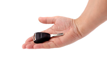 Car key in a hand of the man