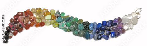 canvas print picture Banner of tumbled stones in curve shape