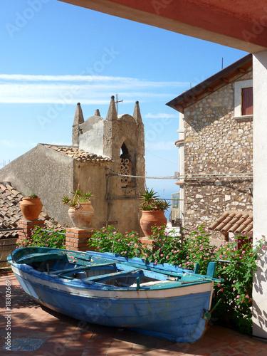 Leinwandbild Motiv Village in Castelmola, sicily