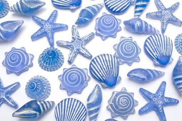 Starfish and seashell backgroun.