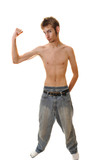 Slender young man flexing with no shirt poster