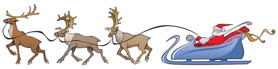 Santa Claus sleighing, christmas reindeer, vector illustration