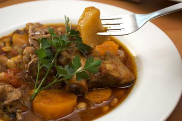 close up of lamb stew dish