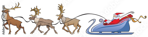 Santa Claus sleighing, christmas reindeer, vector illustration