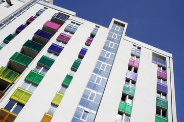 Modern colorful residential building in Vienna, Austria