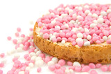 Rusk with pink mice over white background poster