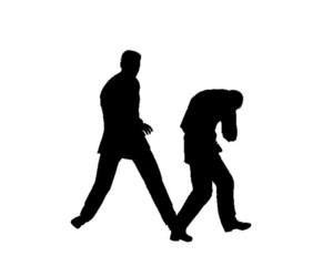 silhouette men in conflict