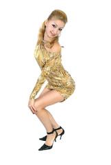 girl in a golden dress