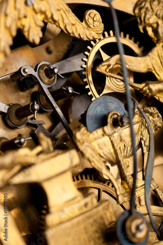 Detail of gold historic clock, macro lens