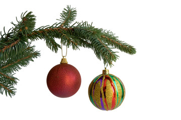 The fir-tree branch with christmas balls on white background