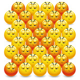 Smiley balls making letter X