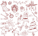 Christmas doodles poster