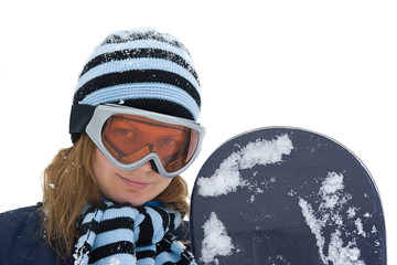 Young girl with snowboard with real snow, isolated on white.