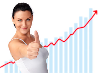 Woman thumb up, with graph in the backround