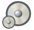 Silver music speaker over white background. Illustration