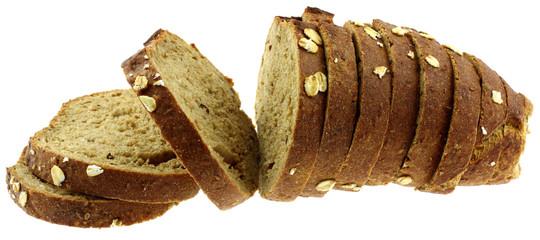 tranches pain céréales fond blanc