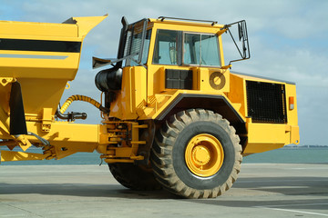 Large dumper truck in construction site