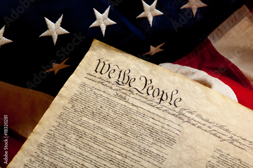 Preamble of the Constitution and american flag