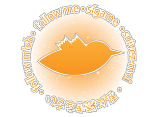 Multilingual follow me texture orange twitter bird badge
