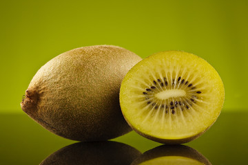 Kiwi and a half on green