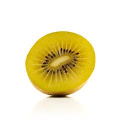 Half kiwi on white