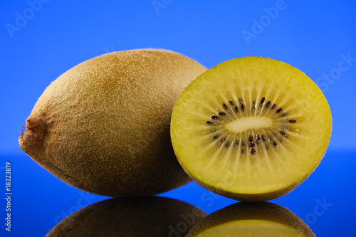 Kiwi and a half on light blue