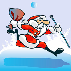 Santa  Claus  hurry up. Vector illustration.