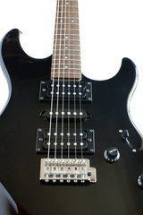 Detail of a black electric Guitar