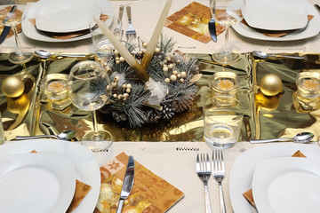 Golden table setting