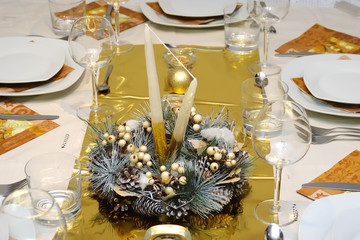 Luxury golden table setting