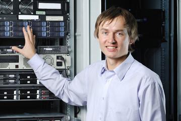 Datacenter specialist showing web server cluster