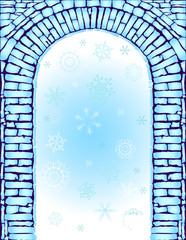 Blue christmas background with arc (vector)