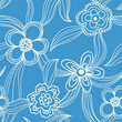 Floral seamless pattern - white on blue