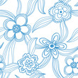 Floral seamless pattern - blue on white