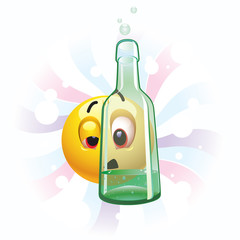 Drunk smiling ball seeing trough bottle