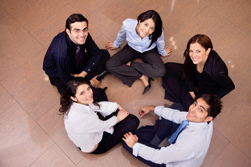 Business group in a circle