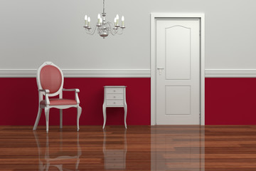 Interior design whiite red rendering