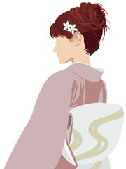ピンクの着物の女性 Japanese kimono girl