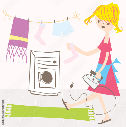 Housewife vector illustration vintage retro