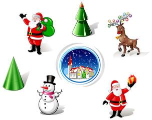 Christmas Santa, Snowman and Deer Iconset