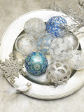 silver and blue holiday ornaments