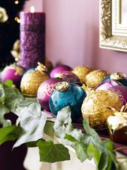 multi coloured baubles, rich christmas decorations