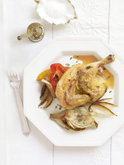 roasted cornish hens with fennel and peppers